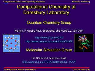 Computational Chemistry at Daresbury Laboratory