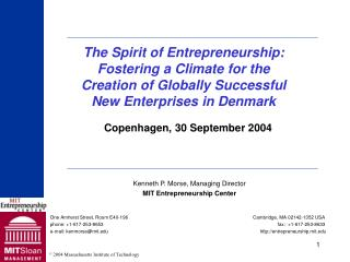 Kenneth P. Morse, Managing Director MIT Entrepreneurship Center