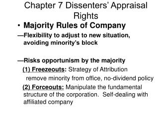 Chapter 7 Dissenters' Appraisal Rights
