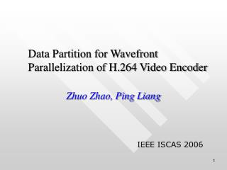 Data Partition for Wavefront Parallelization of H.264 Video Encoder
