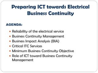 Reliability of the electrical service Business Continuity Management