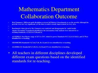 Mathematics Department Collaboration Outcome