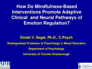 Zindel V. Segal, Ph.D.,  C.Psych Distinguished Professor of Psychology in Mood Disorders