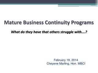 Mature Business Continuity Programs