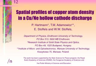 Spatial profiles of copper atom density in a Cu/Ne hollow cathode discharge