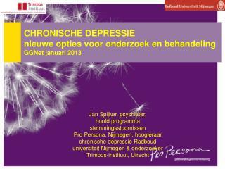 CHRONISCHE DEPRESSIE    nieuwe opties voor onderzoek en behandeling  GGNet januari 2013