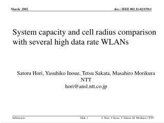 System capacity and cell radius comparison with several high data rate WLANs