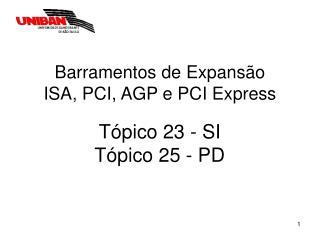 Barramentos de Expansão ISA, PCI, AGP e PCI Express