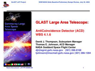 GLAST Large Area Telescope: AntiCoincidence Detector (ACD) WBS 4.1.6