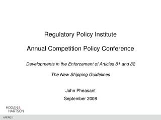 Regulatory Policy Institute  Annual Competition Policy Conference