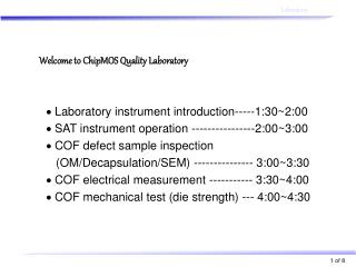 Welcome to ChipMOS Quality Laboratory