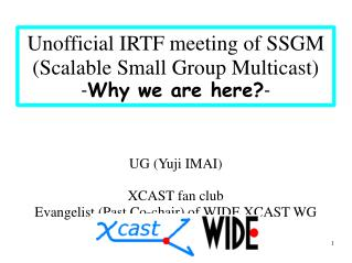 Unofficial IRTF meeting of SSGM (Scalable Small Group Multicast) - Why we are here? -