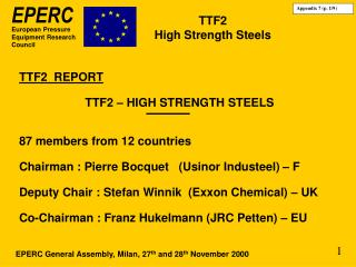 TTF2 High Strength Steels