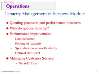 Capacity Management in Services Module