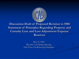 May 16, 2005 Phoenix CAS Spring Meeting Task Force On Reserving Principles