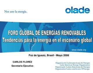 FORO GLOBAL DE ENERGÍAS RENOVABLES Tendencias para la energía en el escenario global