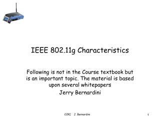 IEEE 802.11g Characteristics