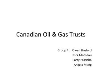 Canadian Oil & Gas Trusts