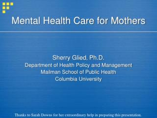 Mental Health Care for Mothers