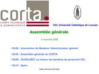 Assemblée générale 4 novembre 2008 - 12h30 : Intervention de Madame l'Administrateur général