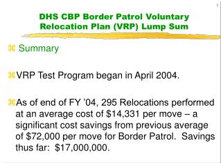 DHS CBP Border Patrol Voluntary Relocation Plan VRP Lump Sum