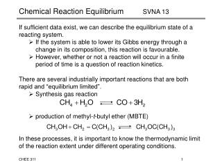 Chemical Reaction Equilibrium	       SVNA 13