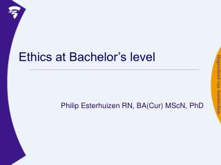 Ethics at Bachelor�s level