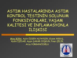Mine BORA , Aylin ÖZGEN ALPAYDIN, Gizem AKKAŞ,  Aydın İŞİSAĞ, Ayşın ŞAKAR COŞKUN, Pınar ÇELİK,