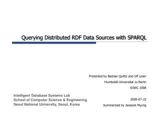Querying Distributed RDF Data Sources with SPARQL