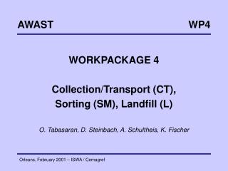 WORKPACKAGE 4 Collection/Transport (CT),  Sorting (SM), Landfill (L)