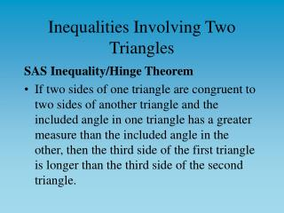 Inequalities Involving Two Triangles