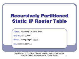 Recursively Partitioned Static IP Router Table