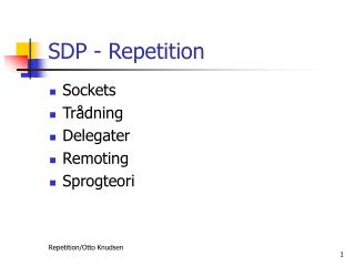 SDP - Repetition