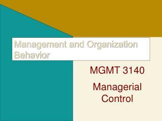 Management and Organization Behavior