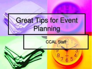 Great Tips for Event Planning