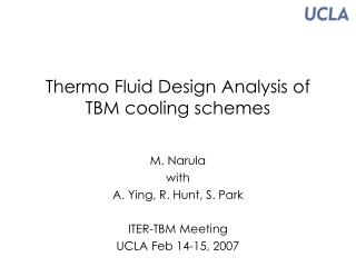 Thermo Fluid Design Analysis of  TBM cooling schemes