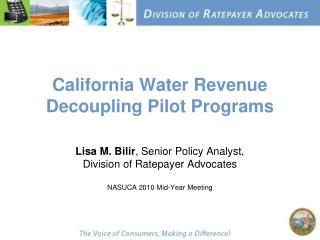 California Water Revenue Decoupling Pilot Programs