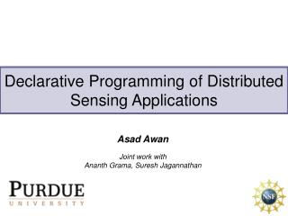 Declarative Programming of Distributed Sensing Applications