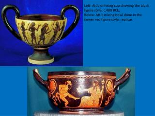 Left: Attic drinking cup showing the black figure style, c.480 BCE;