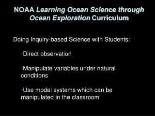 NOAA  Learning Ocean Science through Ocean Exploration  Curriculum