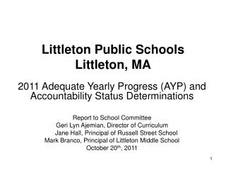 Littleton Public Schools Littleton, MA