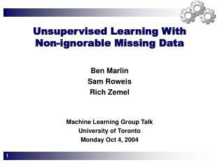 Unsupervised Learning With  Non-ignorable Missing Data