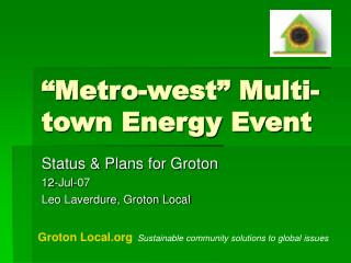 """Metro-west"" Multi-town Energy Event"