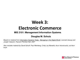 Week 3:  Electronic Commerce