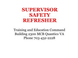 SUPERVISOR SAFETY REFRESHER