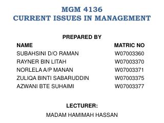 MGM 4136  CURRENT ISSUES IN MANAGEMENT