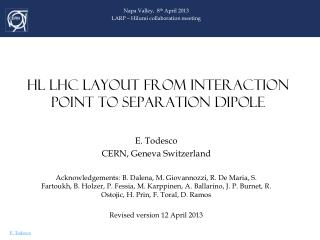 HL LHC LAYOUT FROM Interaction POINT TO SEPARATION DIPOLE