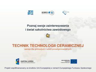 TECHNIK TECHNOLOGII CERAMICZNEJ wersja dla gimnazjum i szk�? ponadgimnazjalnych