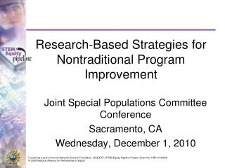 Research-Based Strategies for Nontraditional Program Improvement