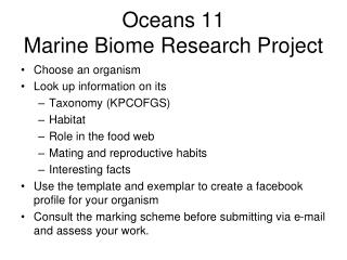 Oceans 11 Marine Biome Research Project